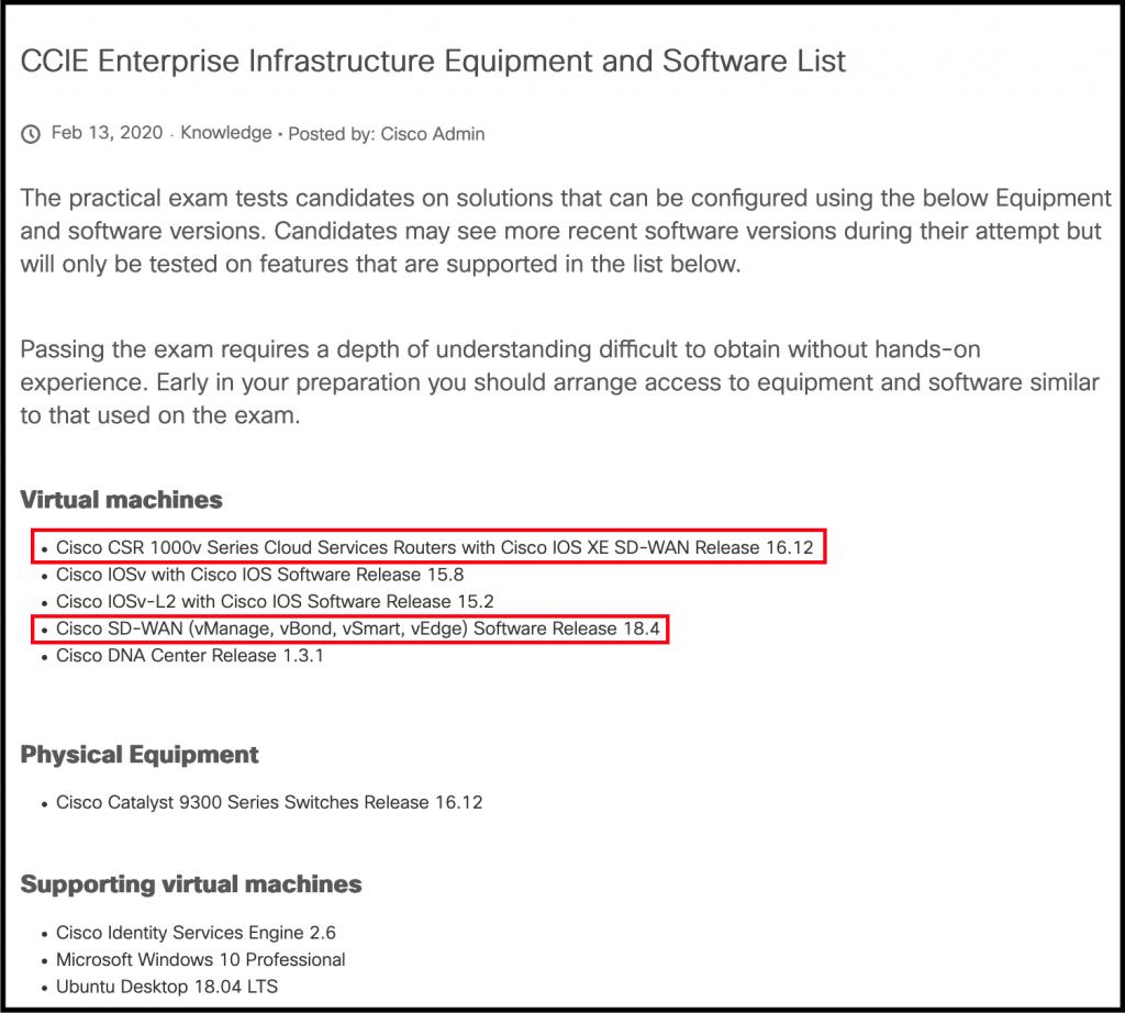 Step 1. CCIE Equipment List