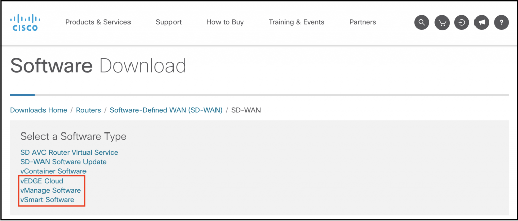 Step 2. SD-WAN Image Download 1