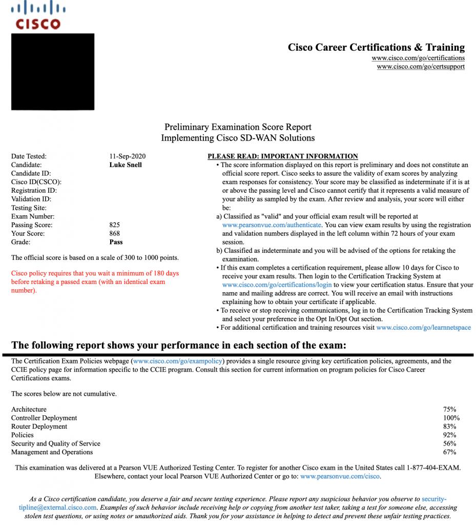 SD-WAN Score Report
