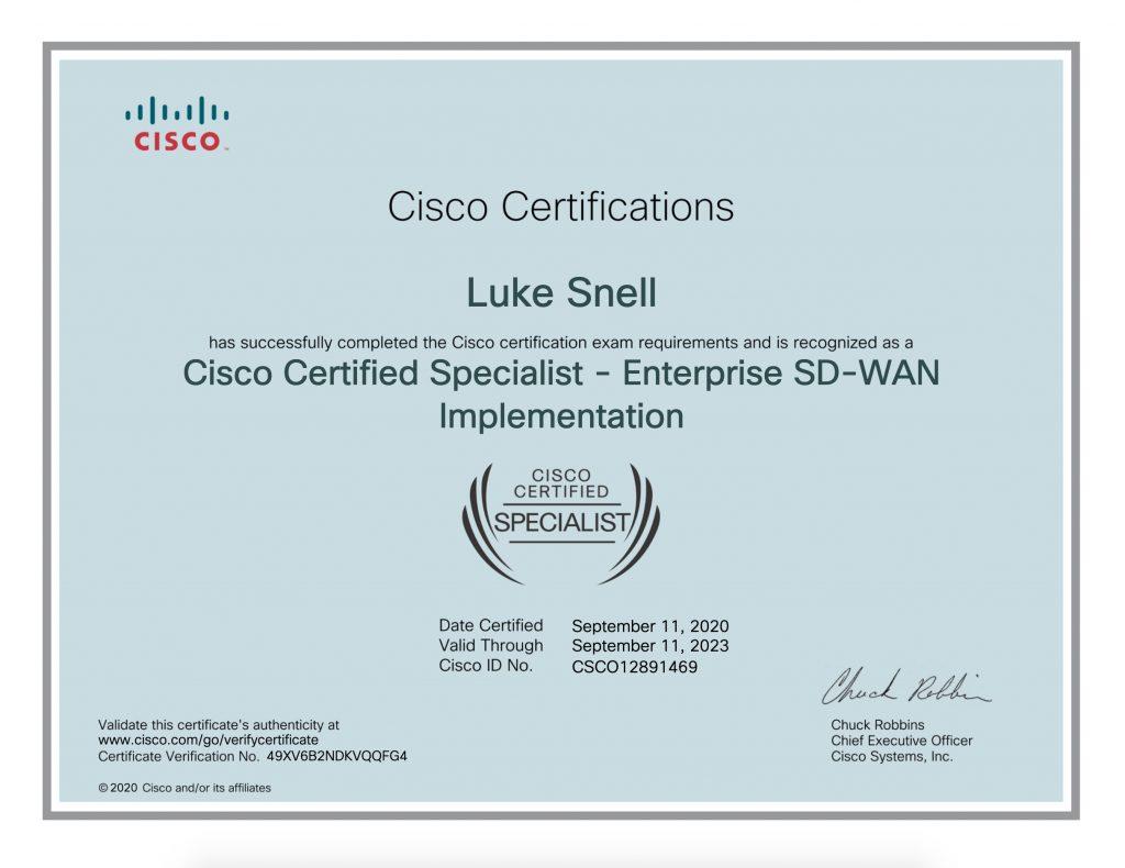 SDWAN Certificate